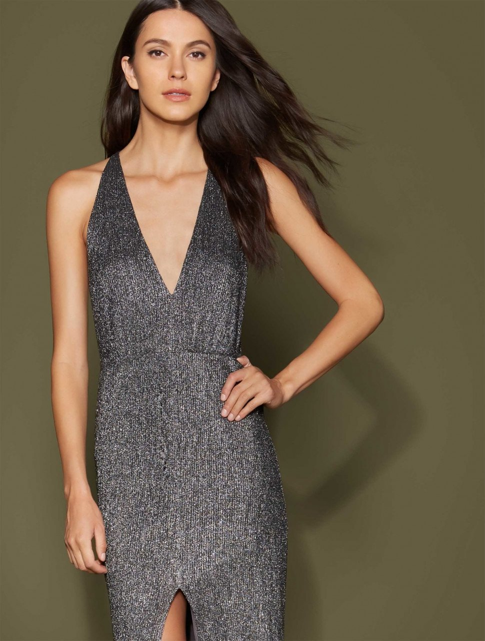 METALLIC KNIT GOWN