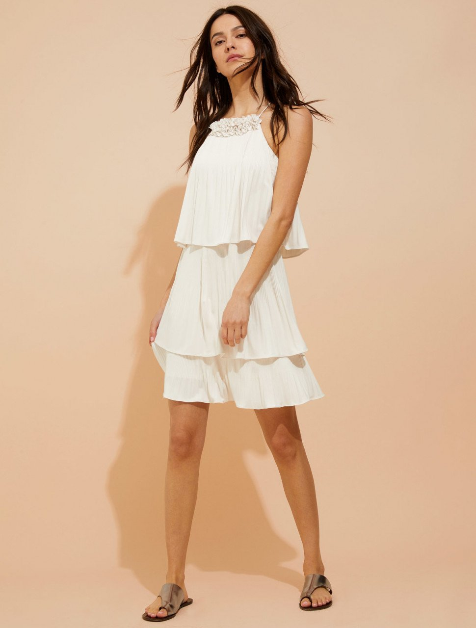 PLEATED JERSEY DRESS