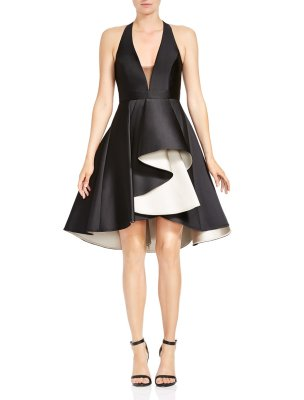 HALTER NECK COLORBLOCK DRESS WITH DRAMATIC SKIRT