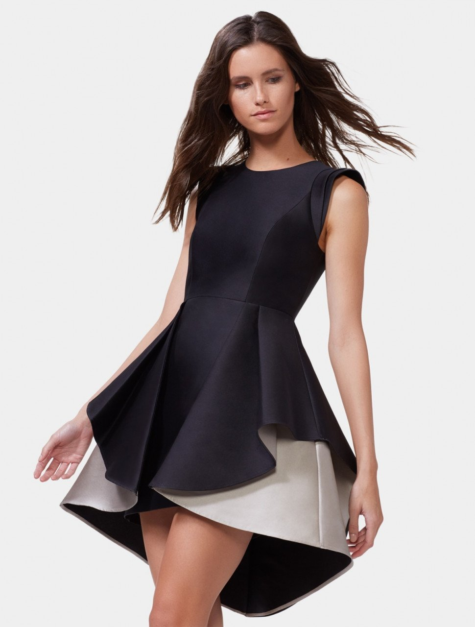 COLORBLOCKED FIT AND FLARE DRESS
