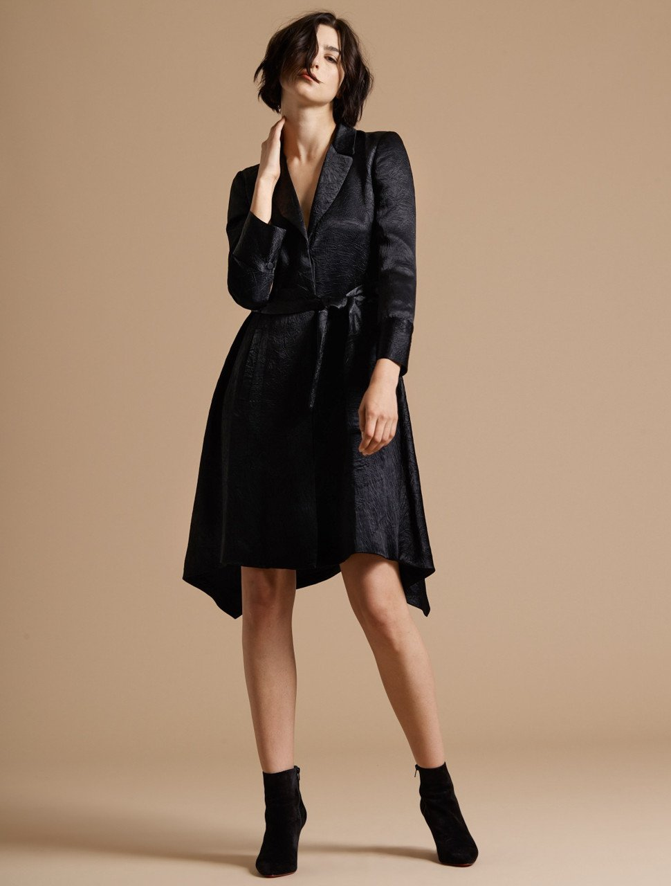 LONG SLEEVE CRUSHED SATIN TRENCH COAT DRESS