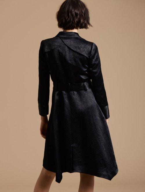 LONG SLEEVE CRUSHED SATIN TRENCH COAT DRESS