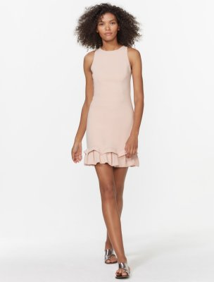 Sleeveless Round Neck Dress with Ruffle Hem