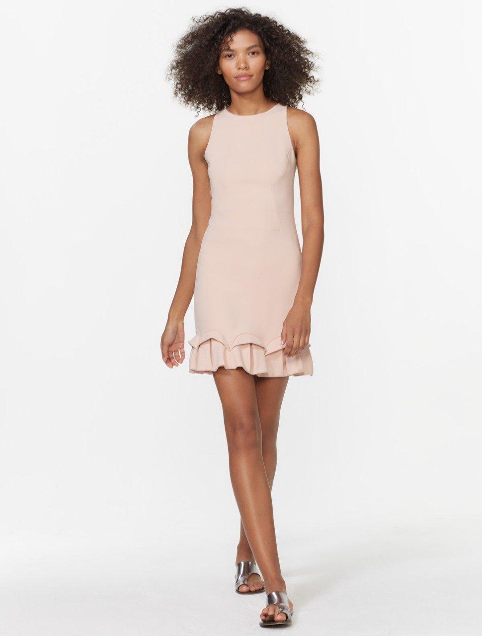 Sleeveless Round Neck Dress with Ruffle Hem