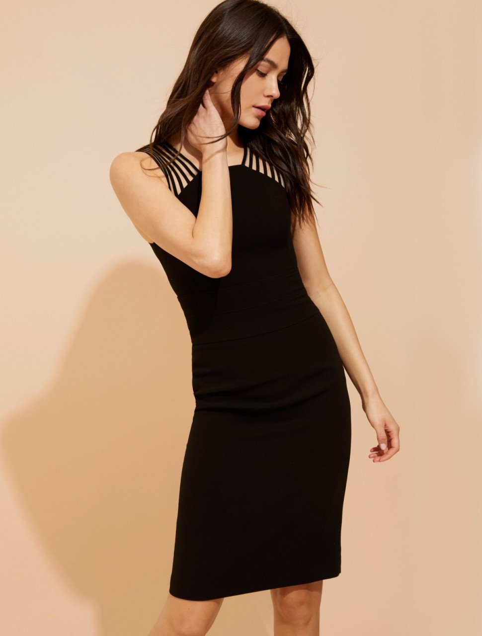 BODY CON POWER CREPE DRESS