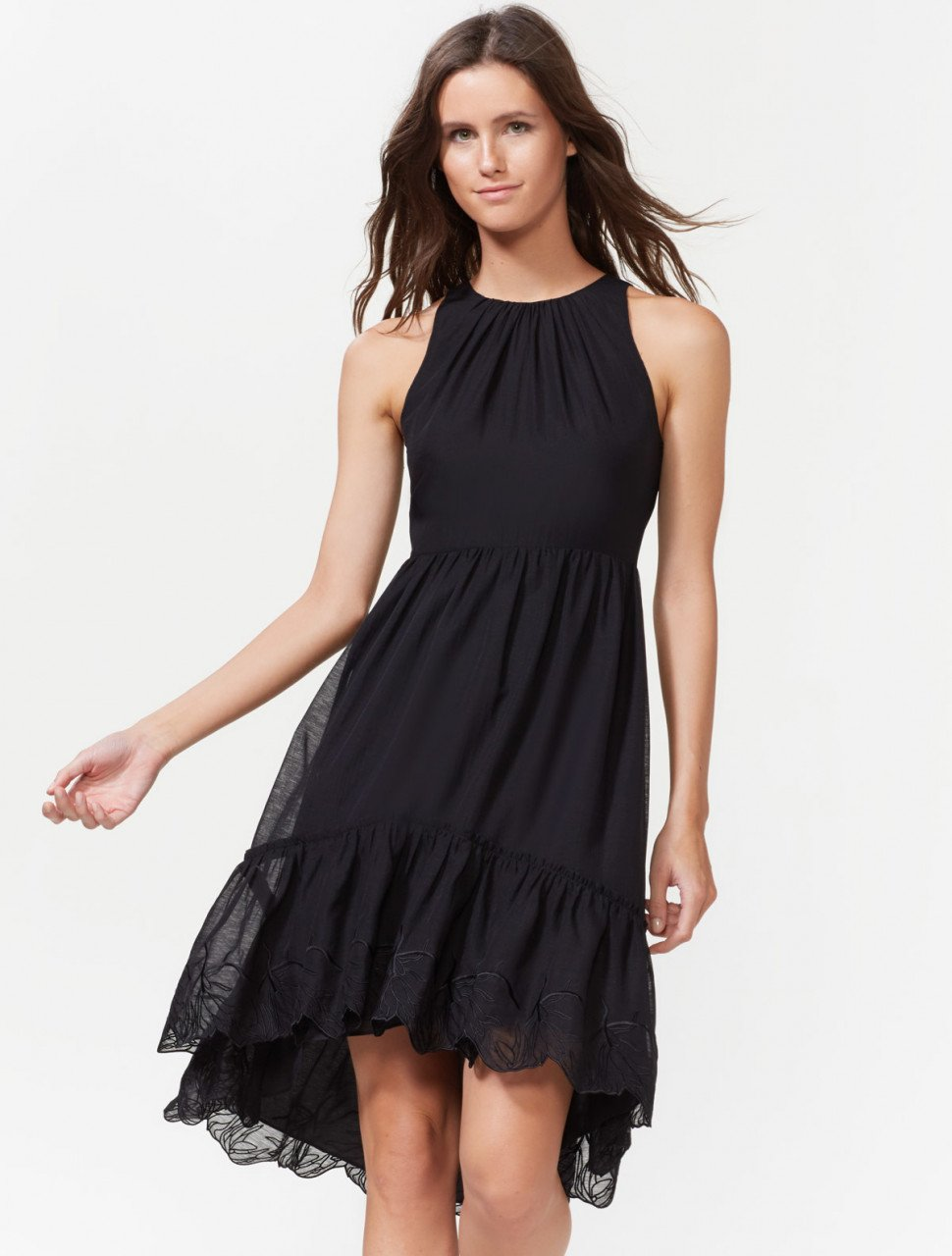 HI LOW DRESS WITH EMBROIDERED HEM