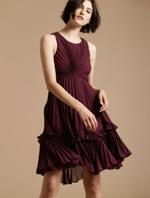 PLEATED BURNOUT GEORGETTE DRESS
