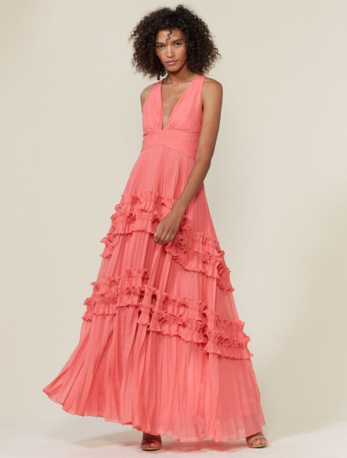 V NECK PLEATED GOWN