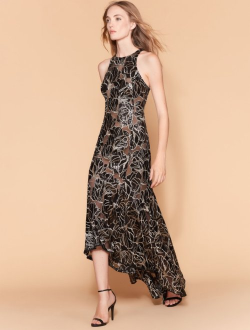 EMBROIDERED SEQUIN HI LO GOWN