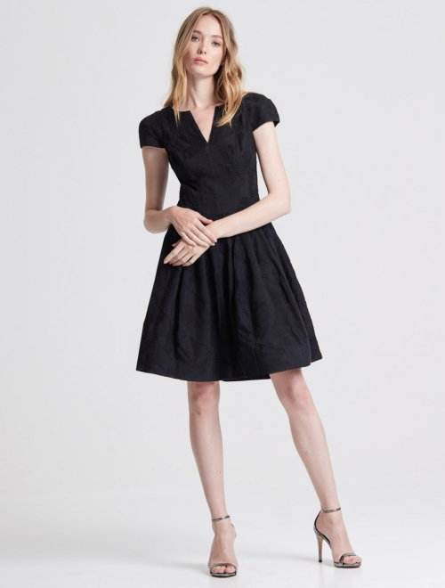 CAP SLEEVE NOTCH NECK JACQUARD DRESS