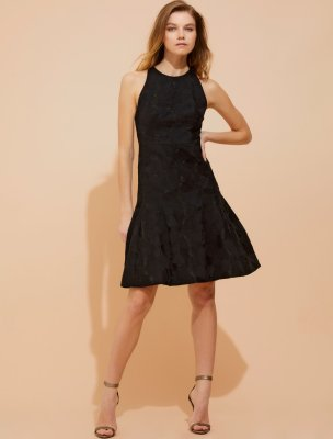 FLORAL ORGANZA JAQUARD DRESS