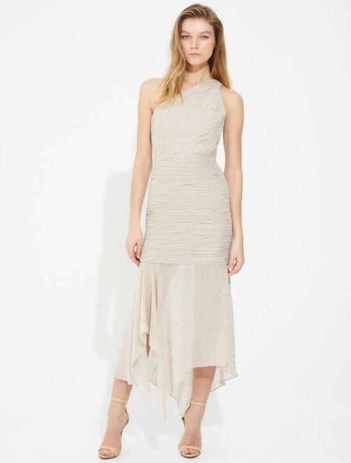 ASYMMETRIC RUCHED FOILED CHIFFON DRESS