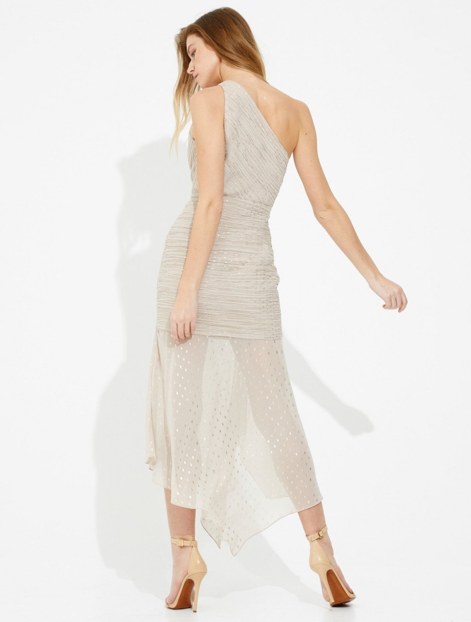 ASYMMETRIC RUCHED FOILED CHIFFON DRESS