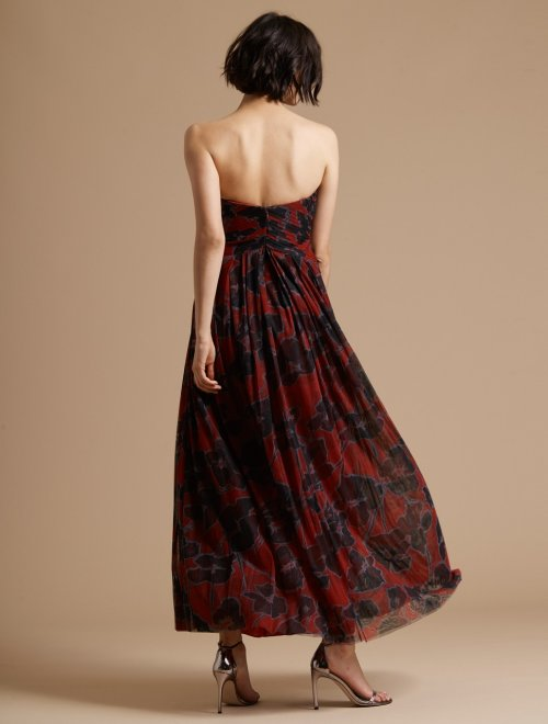 Engineered Pleated Floral Print Gown