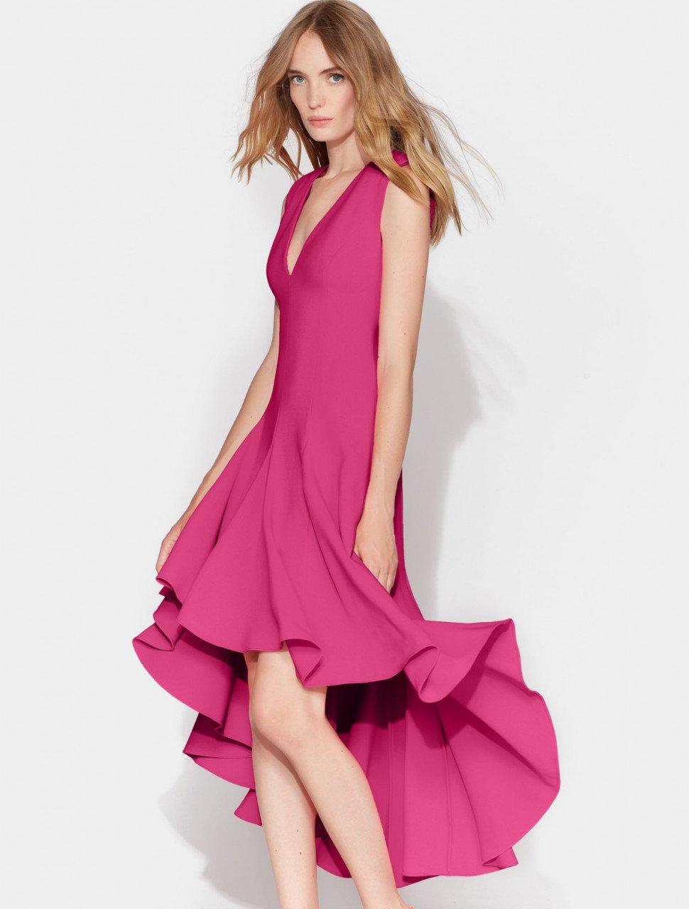FLOWY HI LO CREPE DRESS