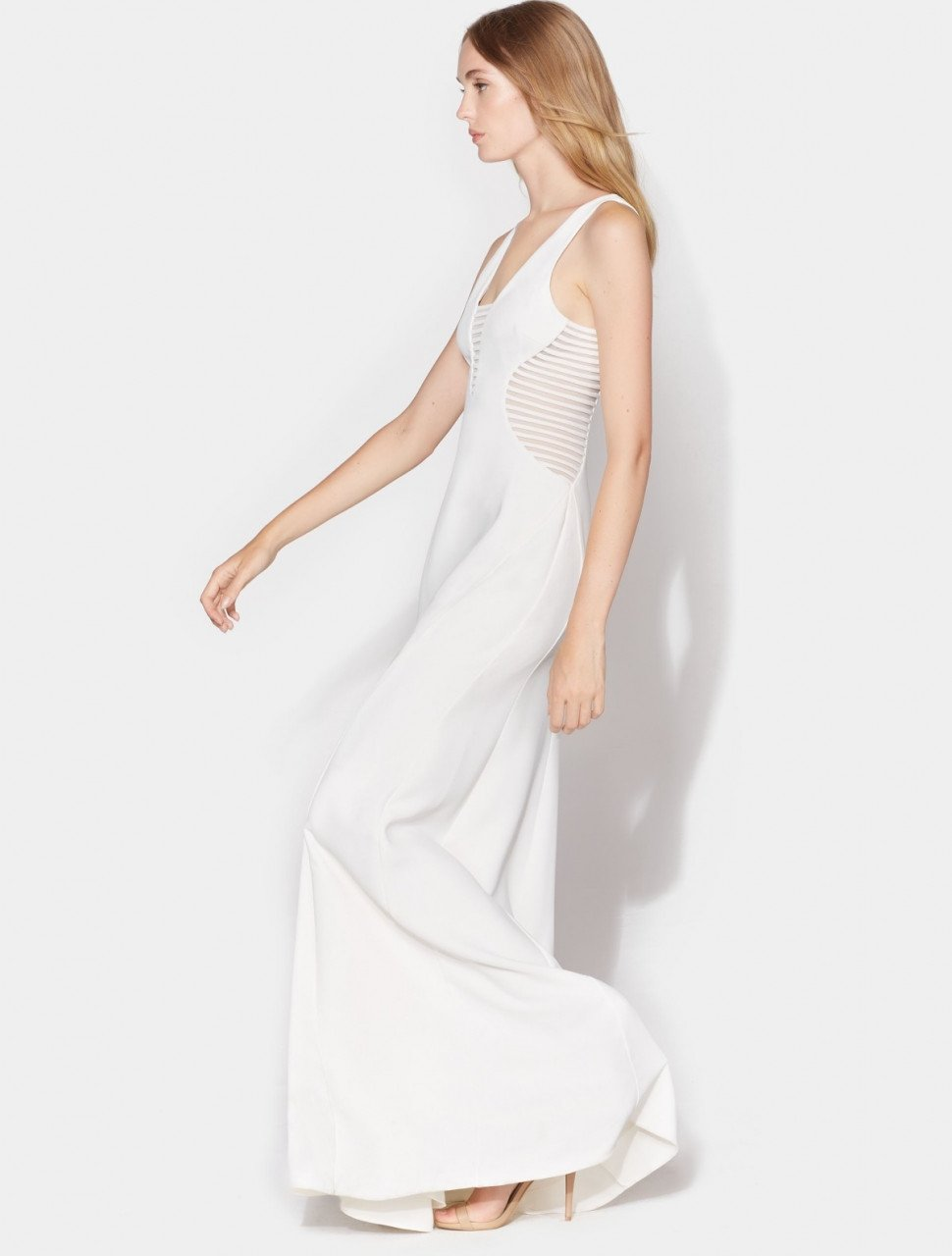 SLIM GOWN WITH STRIP APPLIQUE