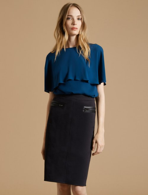 SLIM PENCIL SKIRT WITH ZIPPER DETAIL