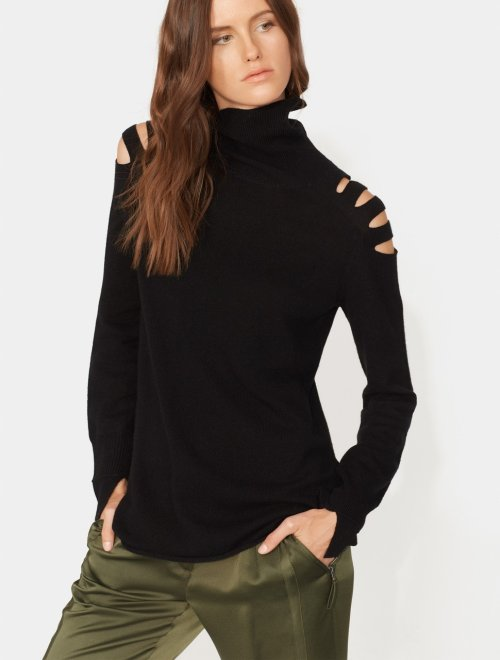 LONG SLEEVE TURTLENECK SWEATER WITH CUT OUTS