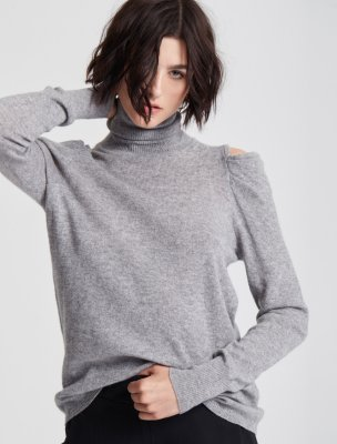 DRAPE COLD SHOULDER LONG SLEEVE TURTLENECK SWEATER