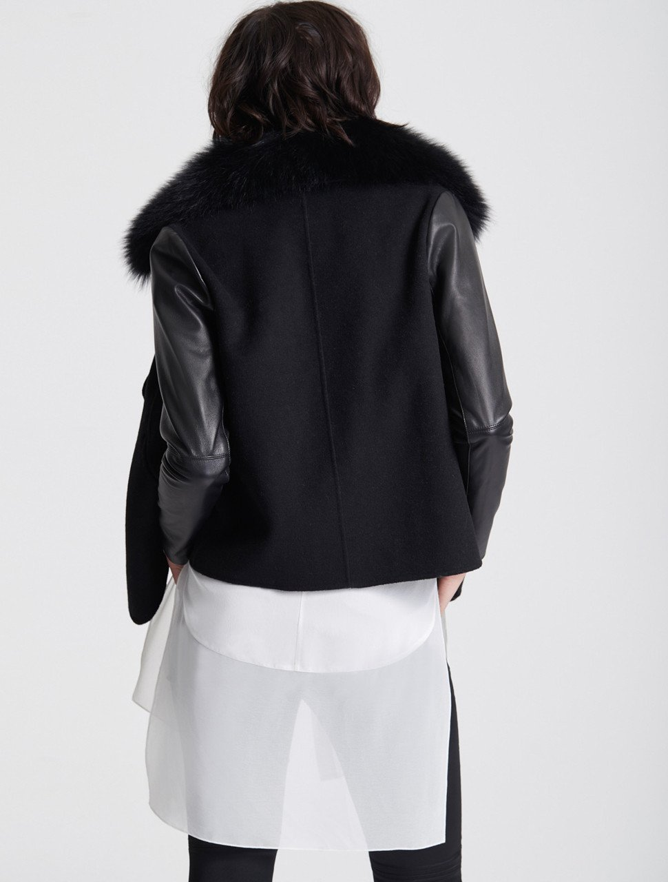 LEATHER SLEEVE FUR COLLAR JACKET