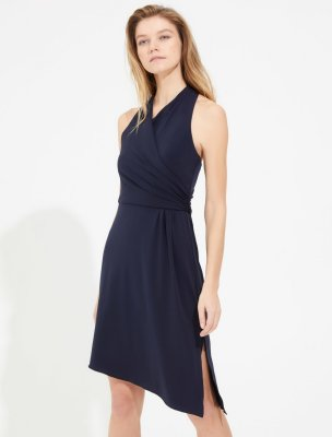 ASYMMETRIC WRAP JERSEY DRESS