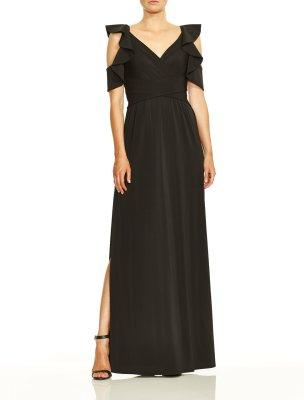 Flutter Cold Shoulder V Neck Jersey Gown