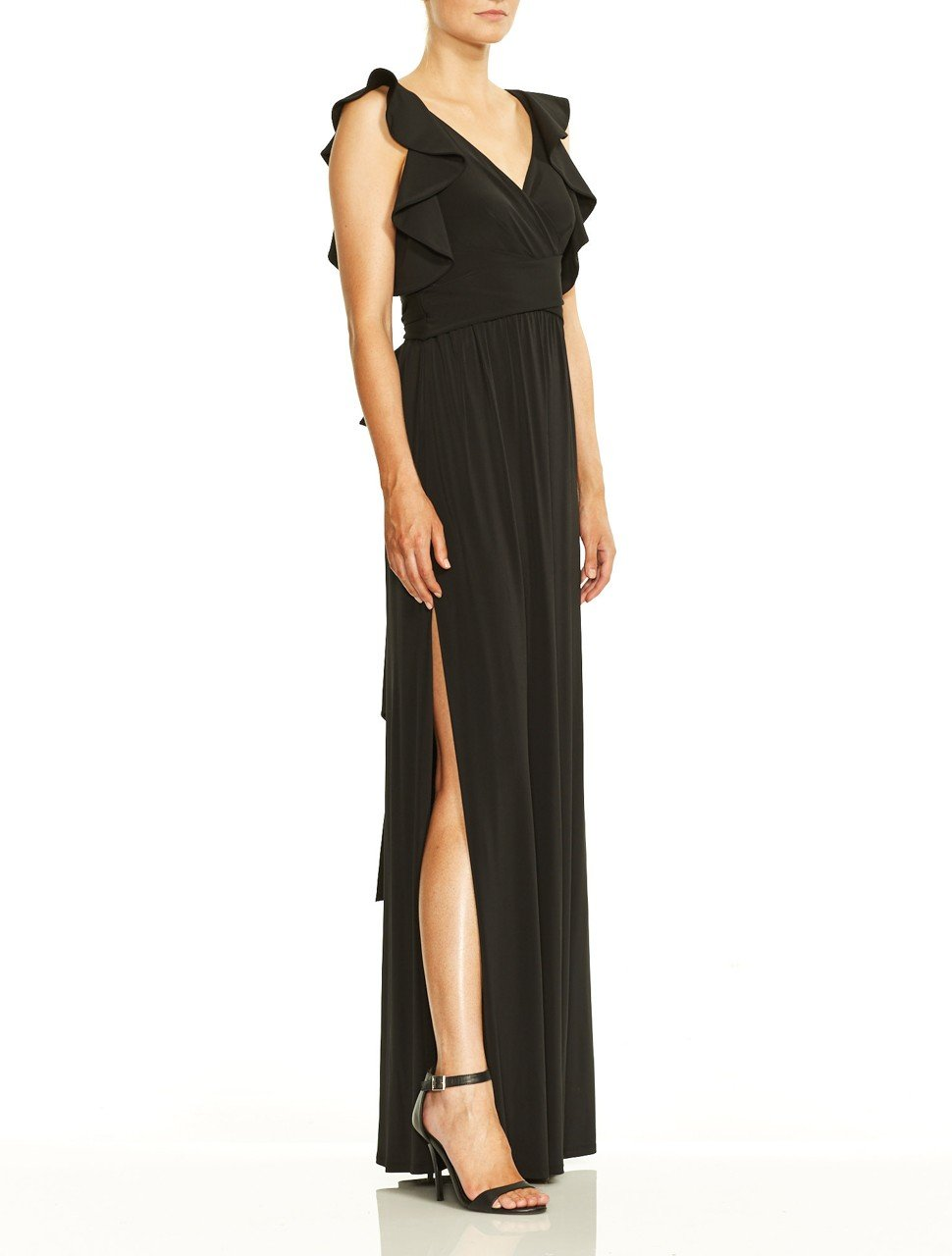 Flutter Cold Shoulder V Neck Jersey Gown