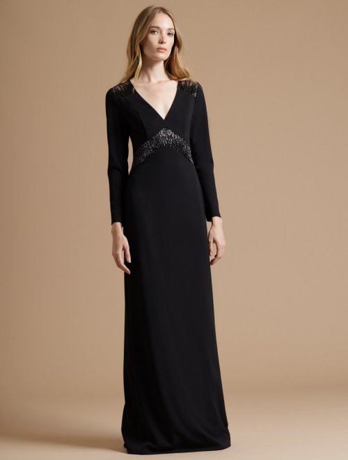 FITTED CREPE KNIT GOWN WITH EMBROIDERED SHEER INSERT
