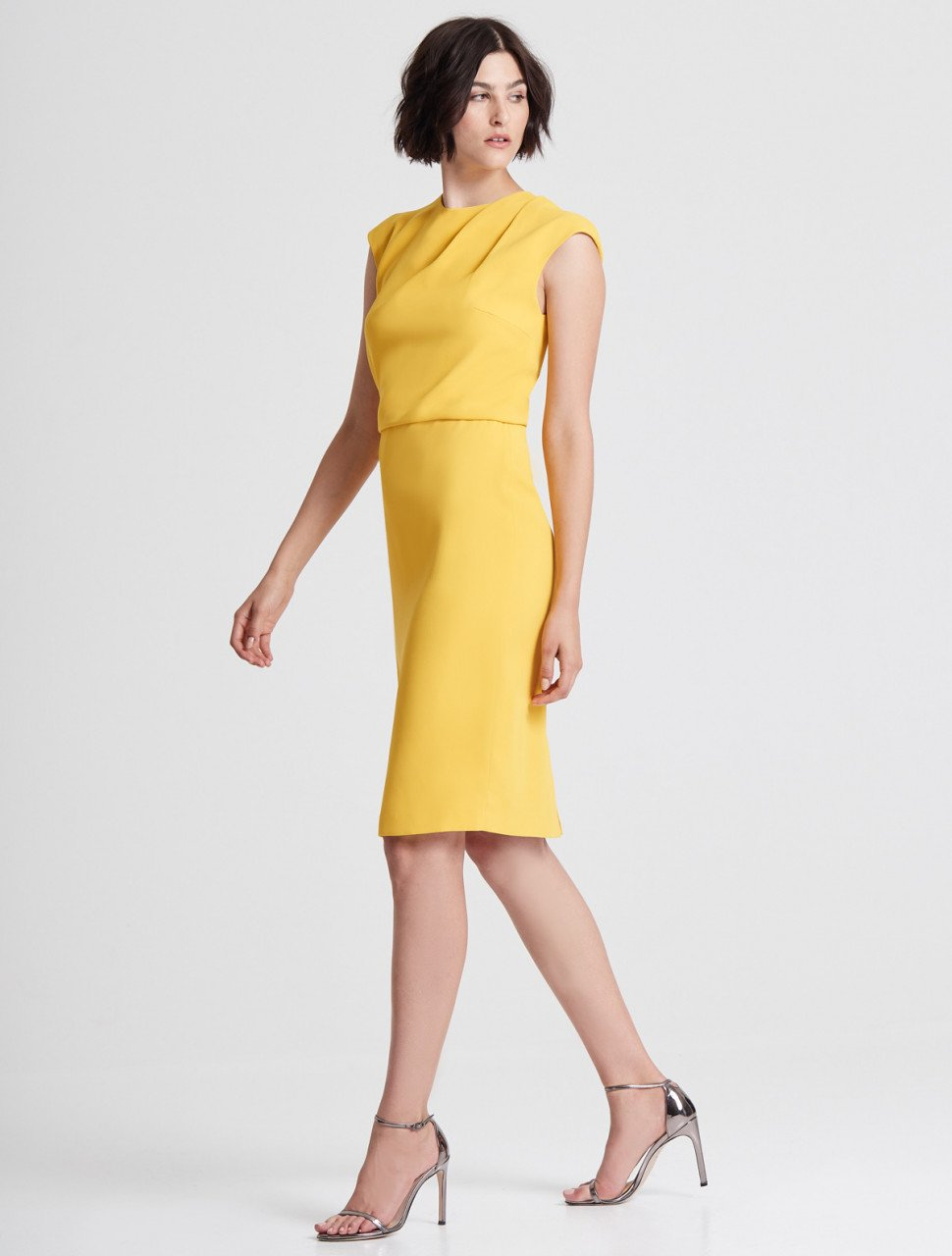 CAP SLEEVE DRAPED NECK CREPE DRESS