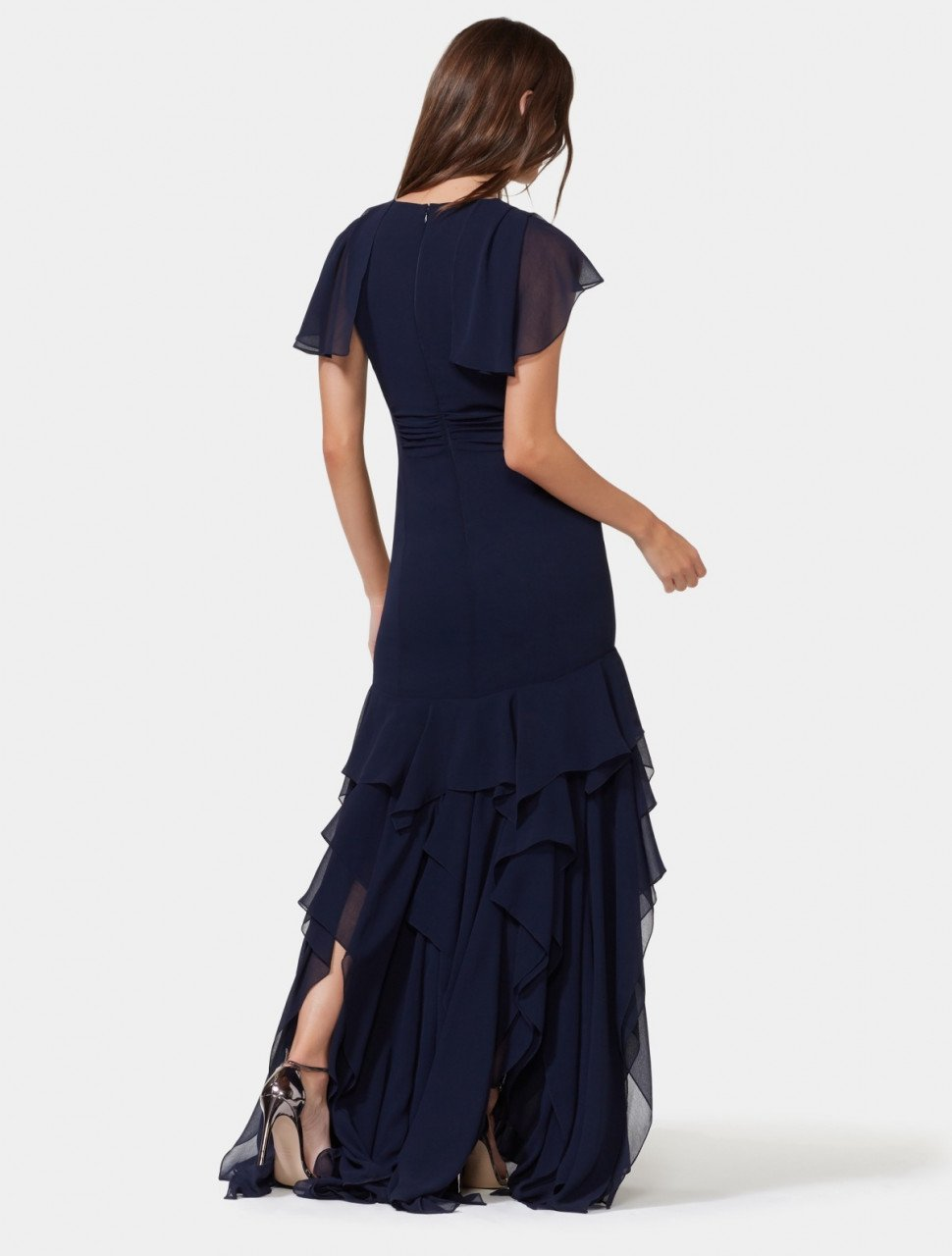 CAPE SLEEVE RUFFLE SKIRT GOWN