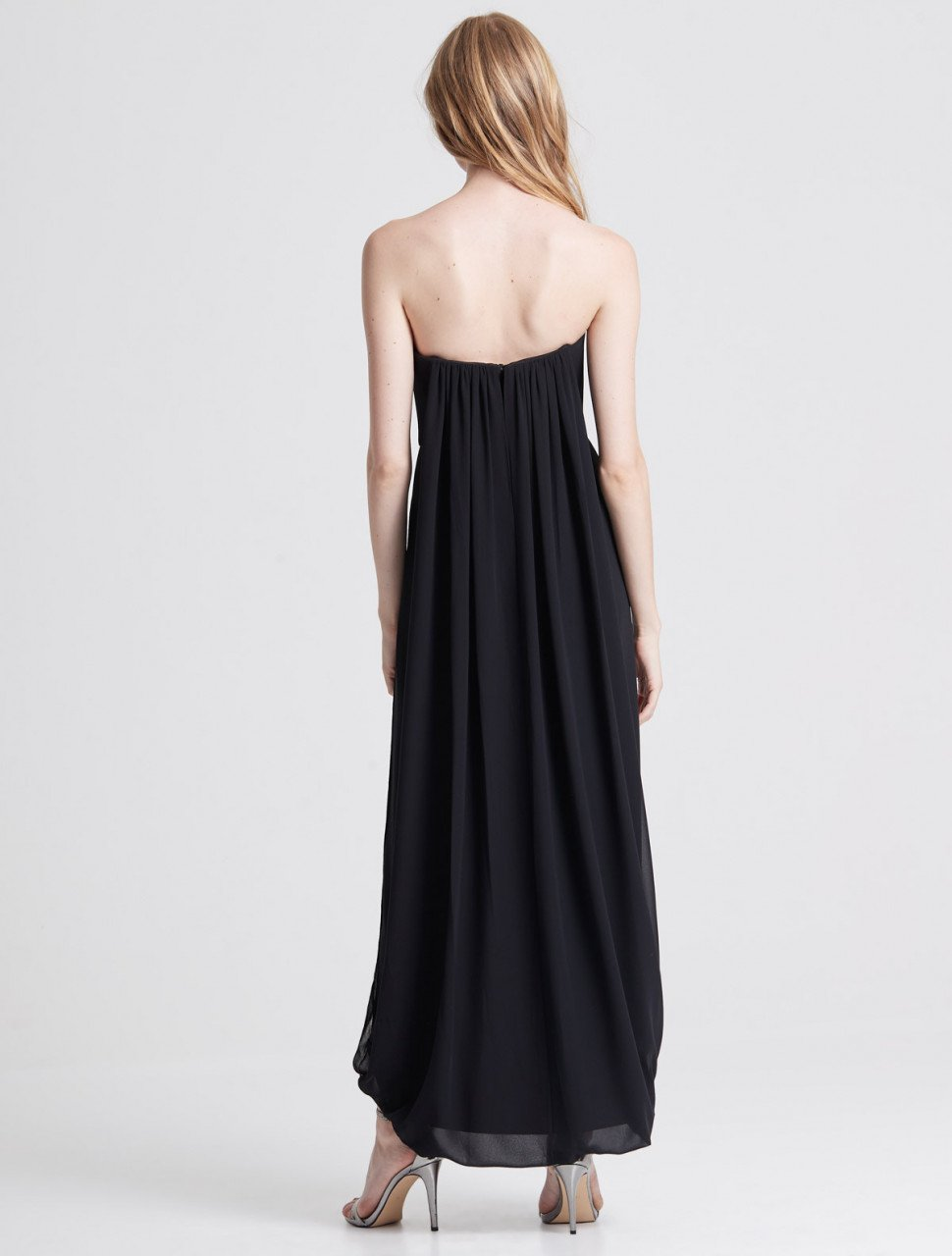 STRAPLESS DRAPED BACK GEORGETTE GOWN