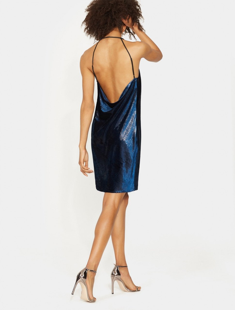 METALLIC VELVET SLIP DRESS