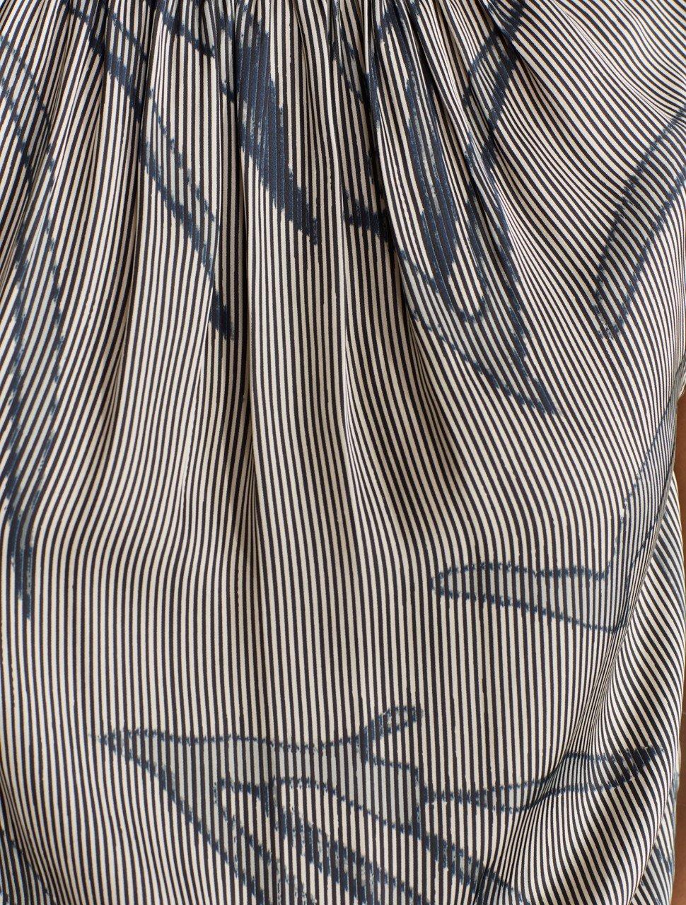 PRINTED SLEEVELESS RUFFLE SMOCKED MOCK NECK DRESS