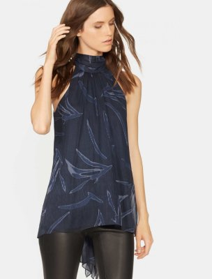 PRINTED MOCK NECK DRAPE BACK TOP