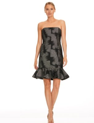 Strapless Metallic Jacquard Dress