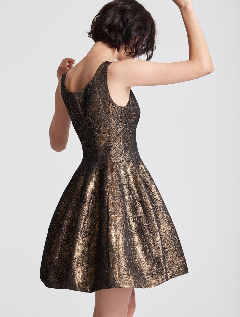 FIT AND FLARE METALLIC JACQUARD DRESS