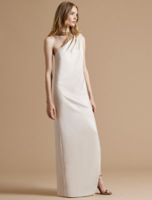 EMBELLISHED NECK ASYMMETRIC CREPE GOWN