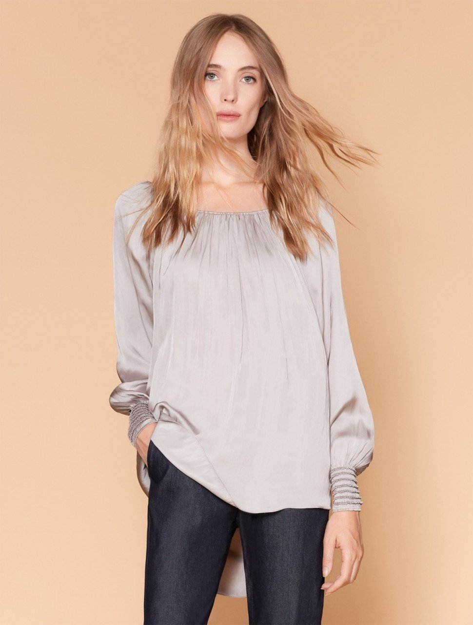 LONG SLEEVE RUCHED NECK TOP WITH SMOCK CUFFS
