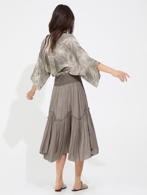 SMOCKED FLOWY MEMORY SATIN SKIRT