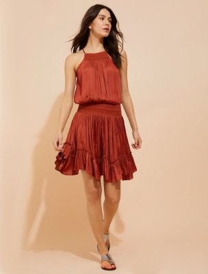 SMOCKED WAIST MEMORY SATIN CAMI DRESS
