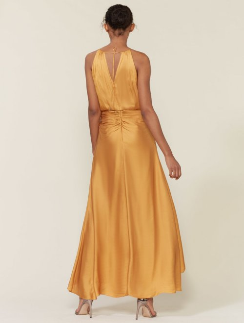 RUCHED MEMORY SATIN GOWN