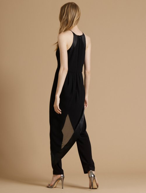 GEORGETTE OVERLAY HIGH NECK CREPE JUMPSUIT