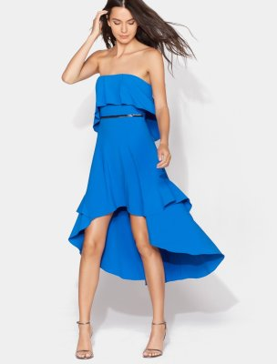 STRAPLESS FLOWY DRESS WITH BEADED WAISTBAND