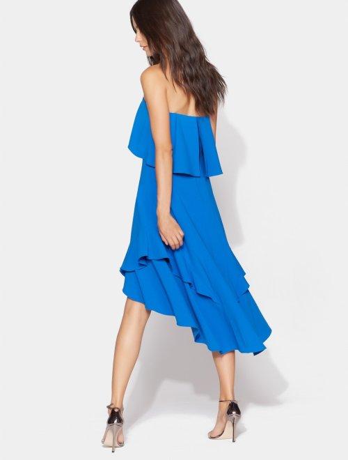 STRAPLESS FLOWY DRESS WITH BEADED WAISTBAND