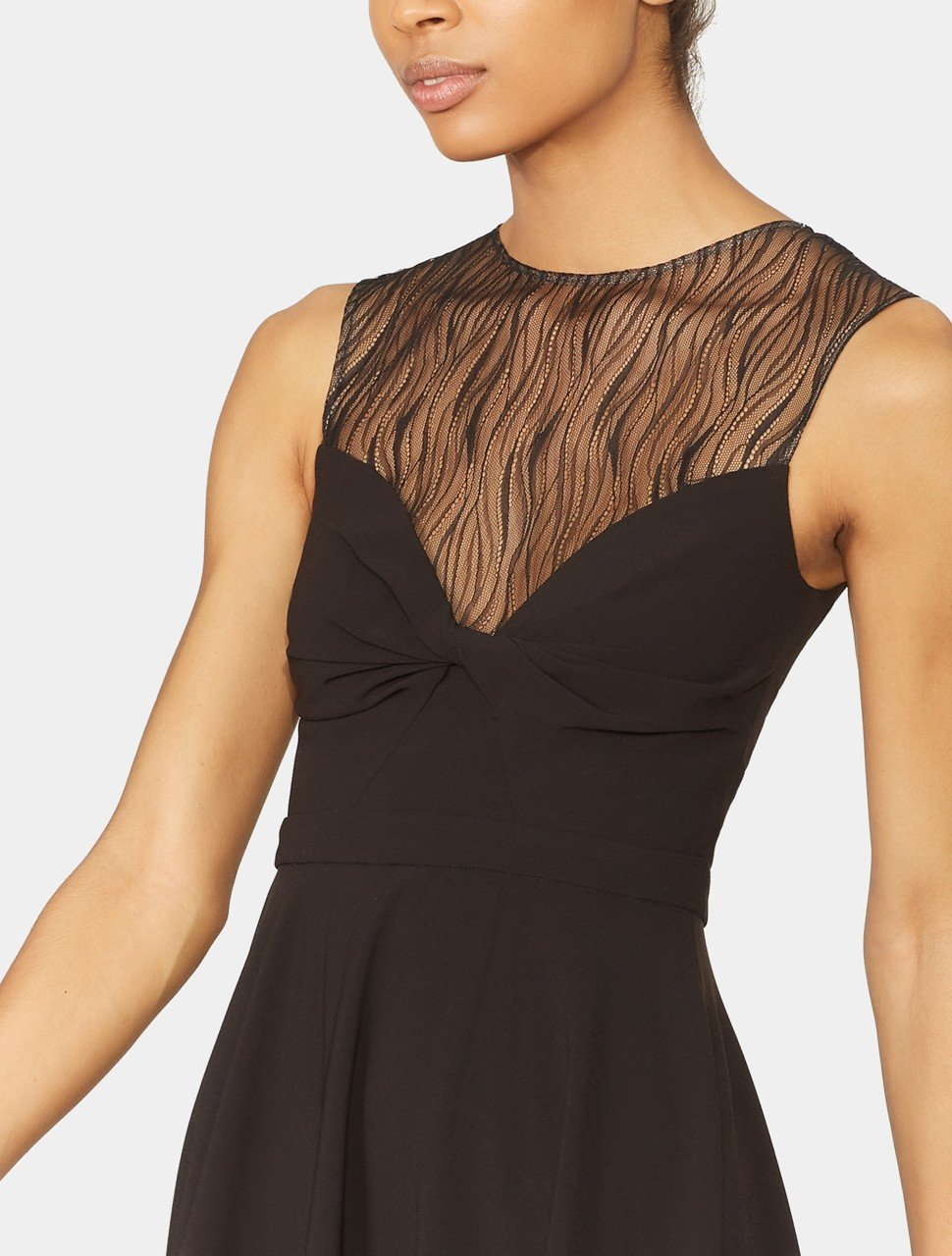 SLEEVELESS KNOT FRONT LACE DETAIL DRESS