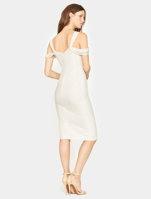 Cold Shoulder Open Neck Slim Crepe Dress
