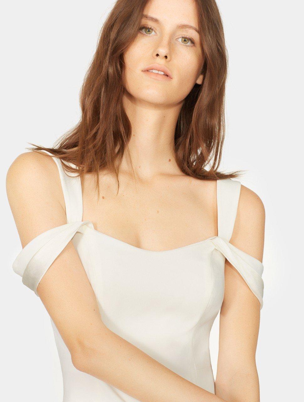 Cold Shoulder Open Neck Slim Crepe Dress