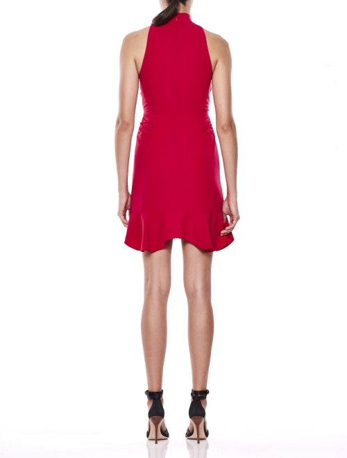 Sleeveless Mock Neck Dress with Ruched Keyhole