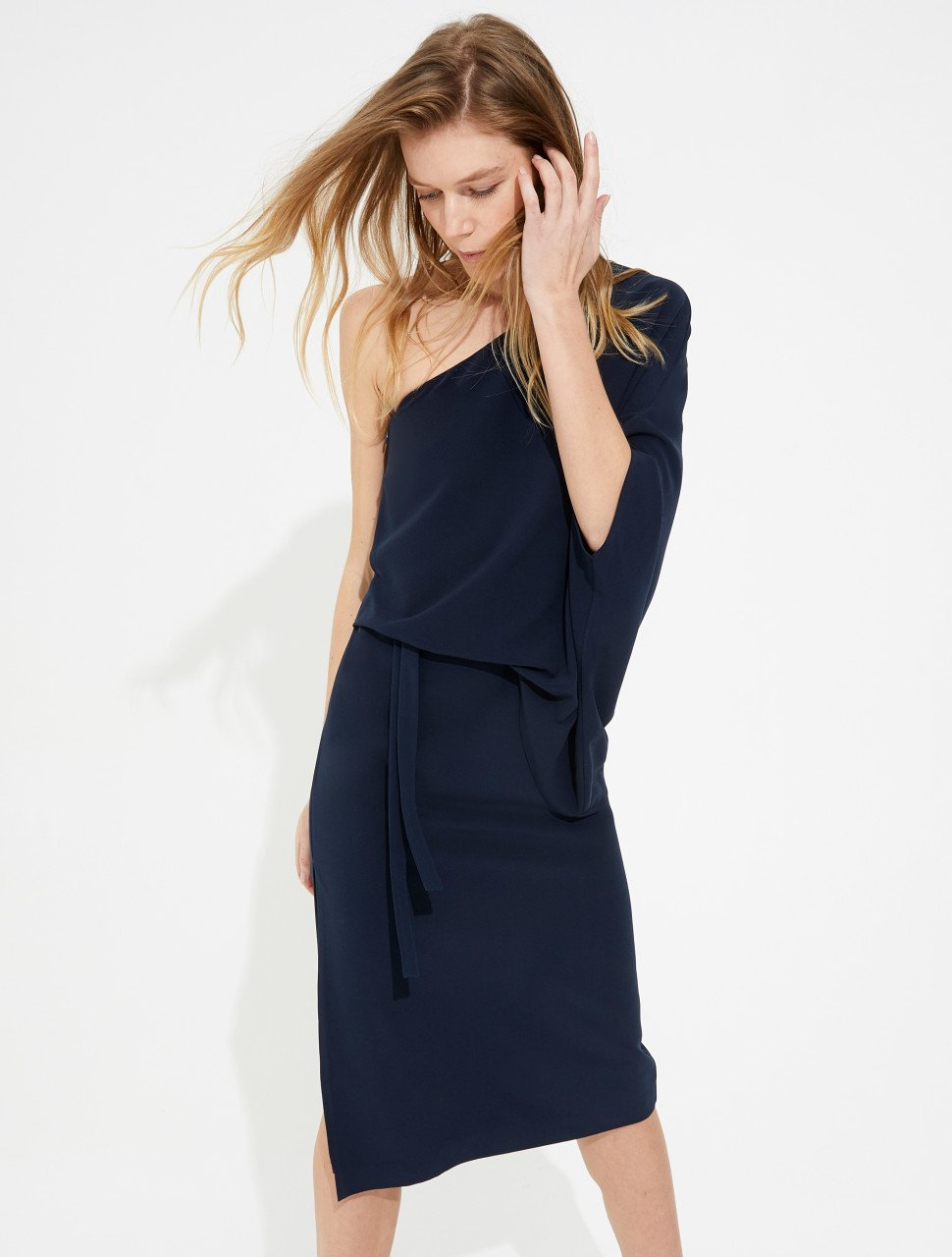DRAPED ONE SHOULDER CREPE DRESS