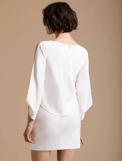 LONG SLIT SLEEVE CREPE DRESS